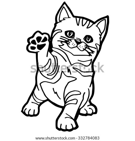 Cat Coloring Page Stock Vector 2018 332784083