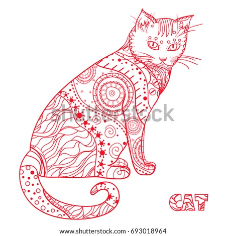 Cat. Design Zentangle. Hand drawn cat with abstract patterns on isolation background. Design for spiritual relaxation for adults. Zen art. Decorative style. Print for polygraphy, posters and textiles