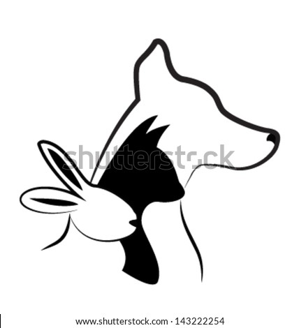 Cat dog and rabbit silhouettes creative design vector - stock vector