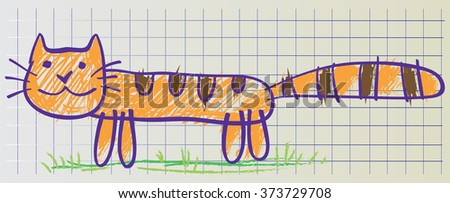 Cat drawn in childish manner on the copybook sheet of paper, vector - stock vector