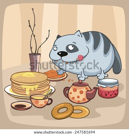 Cat eats on the table - stock vector