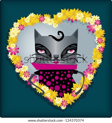 Cat emerging from a hearth of flowers. - stock vector