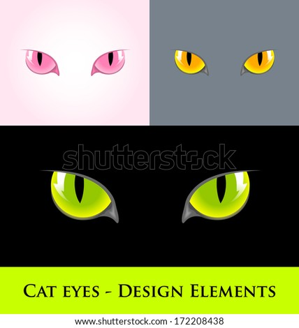 Cat eyes design element isolated on various backgrounds - stock vector