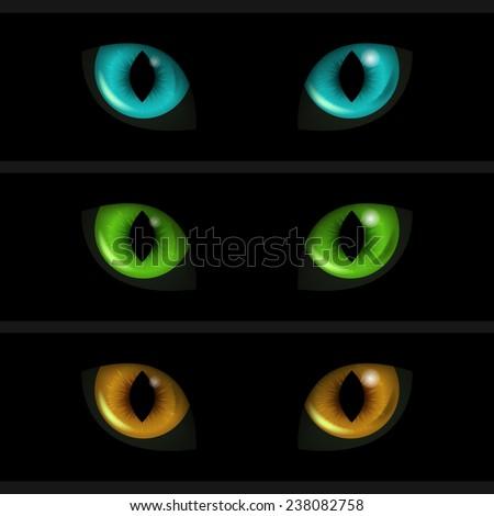 Cat Eyes on black background. Set of three elements. Vector illustration. - stock vector