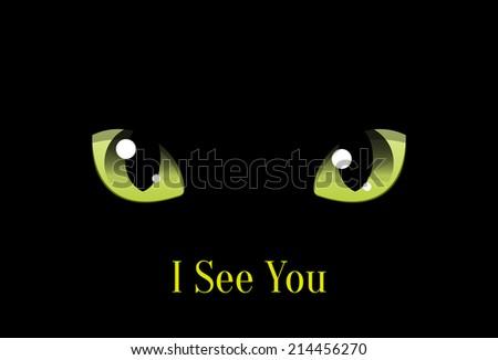 Cat Eyes on Black Background, Vector Halloween Design Element - stock vector