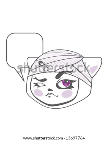 cat face - stock vector