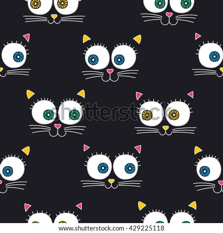 Cat face. Vector seamless pattern with cats faces. Cute kitten background for children. On black background. - stock vector