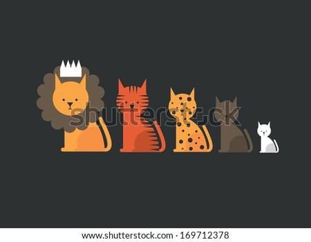 cat family vector/illustration - stock vector