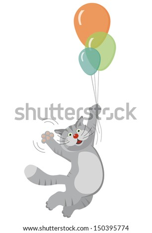 cat flying on balloons - stock vector