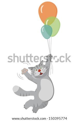 cat flying on balloons - stock vector