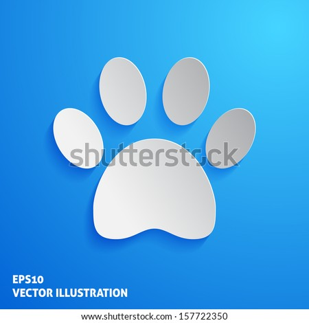 Cat footprint icon on blue backgroud. Vector illustration - stock vector