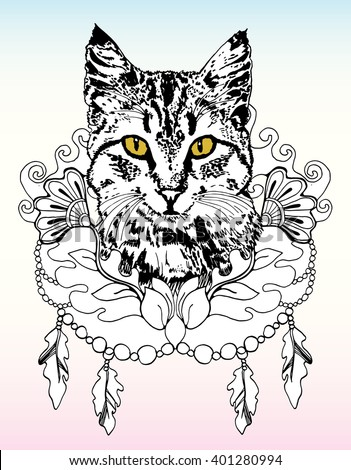 Cat. Funny cat. Playing cat. Kitten. Zentangl. Line art. Drawing by hand. Graphic arts. Decorative. Stylized. Dudling. Isolated. Black and white. Tattoo. - stock vector