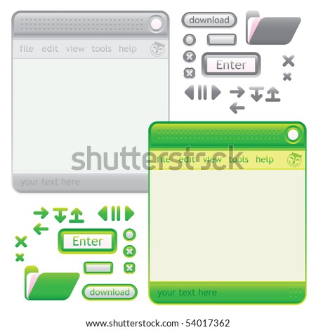 cat GUI neutral and GREEN - stock vector