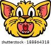 Cat head cartoon vector illustration - stock vector