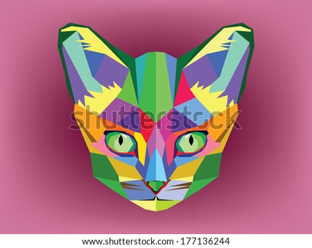 Cat head geometric style - stock vector