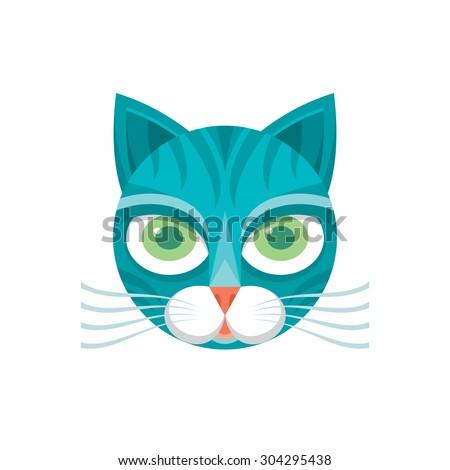Cat head - vector sign. Animal cartoon face. Feline illustration. Design element.  - stock vector