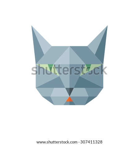 Cat head - vector sign illustration in abstract polygonal style. Cat geometric logo in flat style design. Cat animal symbol. Cat head vector concept illustration. Feline illustration. Design element. - stock vector