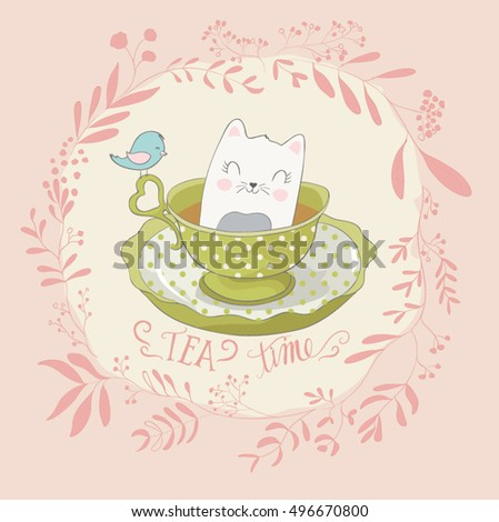 cat illustration/cute cat illustration /Floral cute background with bird, baby cat/cat illustration series/cute cat on white background vector illustration/Cute Cat kitten Pet, illustration cartoon