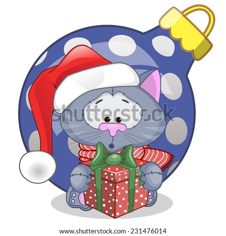 Cat in a Santa hat with gift  - stock vector