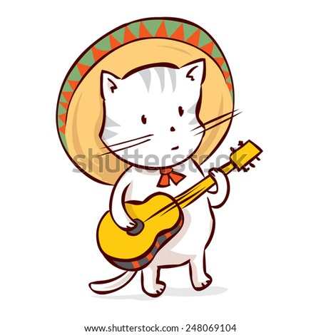 Cat in a sombrero playing traditional Mexican music on the guitar. Hand drawn vector illustration. Mariachi musician. Isolated on white.