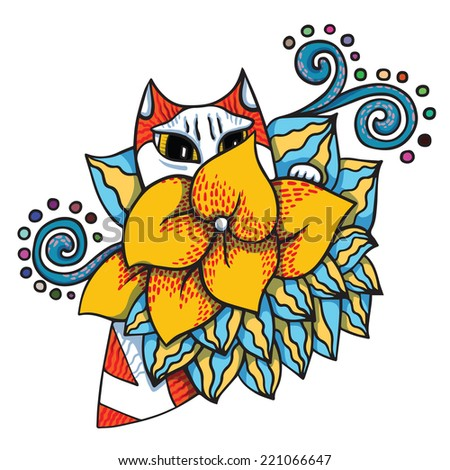 Cat in flower. Vector illustration in cartoon style.