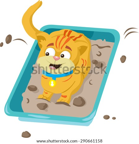 cat in the cat tray - stock vector