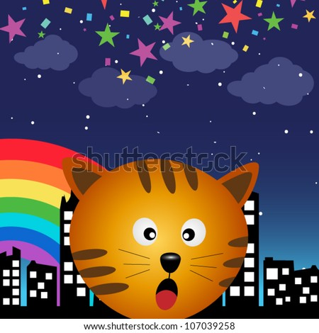 Cat in the city at night with rainbow - stock vector