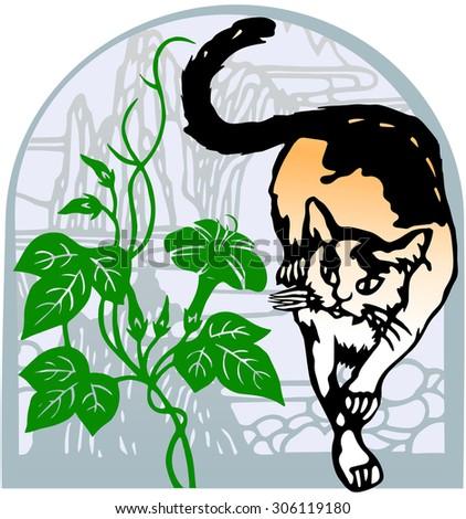 Cat in the garden - stock vector