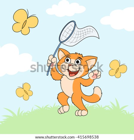 Cat is catching butterflies on meadow 2 - stock vector