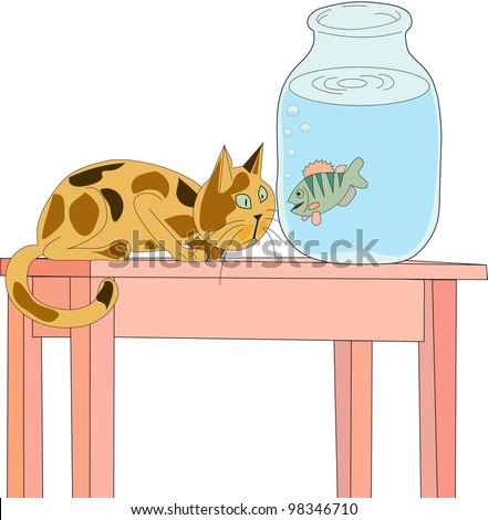 cat is sitting on the table and looking through the glass wall of the banks with water by floating in it crucian - stock vector
