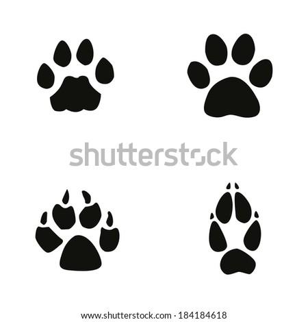 cat, jaguar, dog, fox footprint - stock vector
