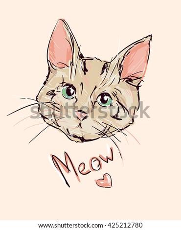 cat, kitten, cute cat sketch vector illustration  - stock vector