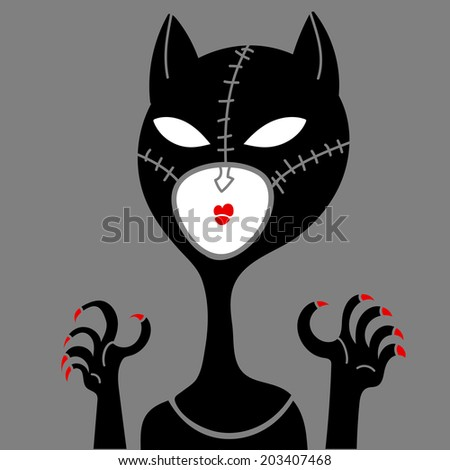 cat leather masked woman - stock vector