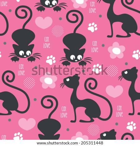 cat love pattern vector illustration - stock vector