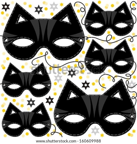 cat mask animal party disguise with sparkling gold stars holiday seamless pattern on white background - stock vector