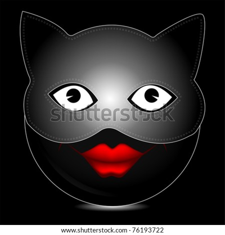 Cat mask smile character - stock vector