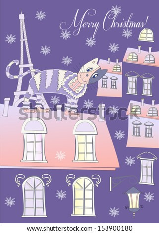 Cat on a Roof of Winter Blue Paris.Vector Illustration - stock vector