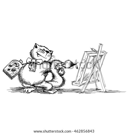 Cat - painter