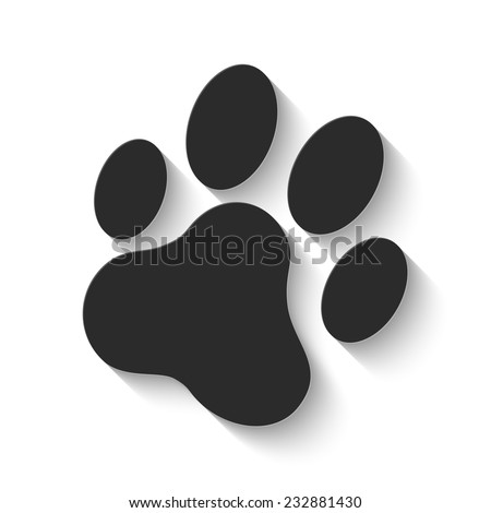 cat paw print icon - gray vector illustration with shadow - stock vector