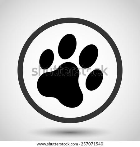 Cat paw print vector icon - black illustration - stock vector