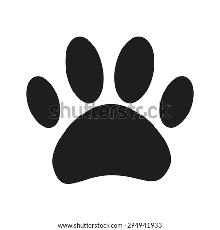 cat paw trace vector icons. flat design