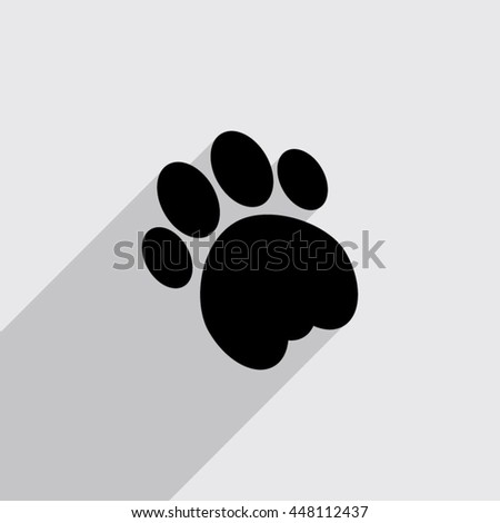 cat paw vector icon with long shadow