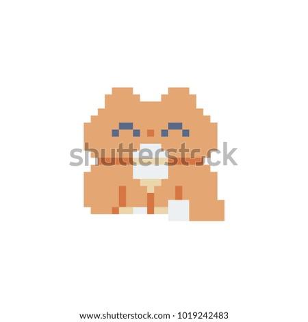 Cat Pixel Art Icon Isolated Vector Illustration. Cute Pet. Stickers Design.  Logo Design