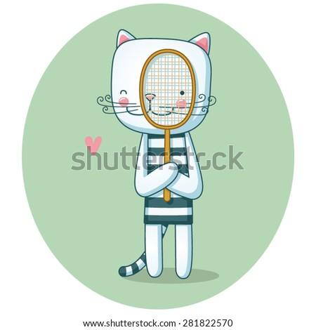 Cat playing tennis - stock vector