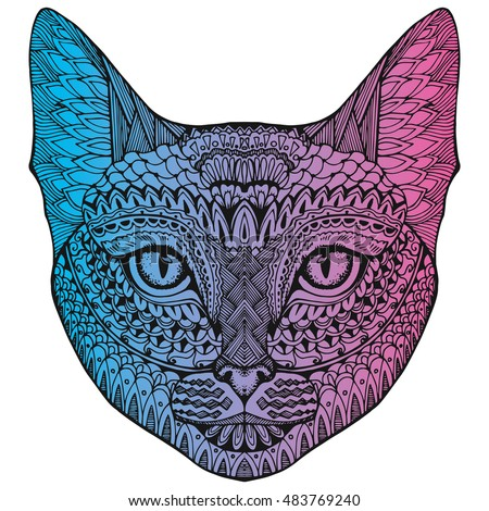 Cat. Portrait of a cat. cat's head. Cute cat. Animal. A pet. Line art. Drawing by hand. Graphic arts. Tattoo. Decorative. Stylized. Zentangle.
