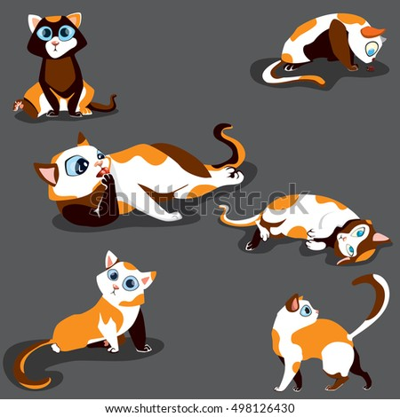 Cat poses set. cats with spots. Cute cats.