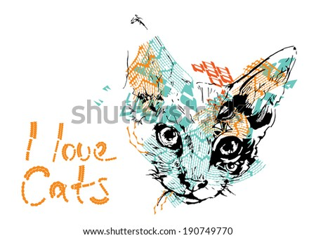 Cat Poster - stock vector