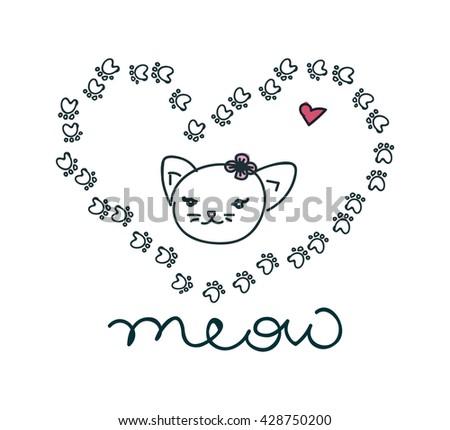 Cat print, cat graphic, cat illustration, canvas print, cat pattern, cat design,c at graphic, cat wallpaper, adorable cat, Funny cat,T-shirt Print, i love cat, animal print, cat vector - stock vector