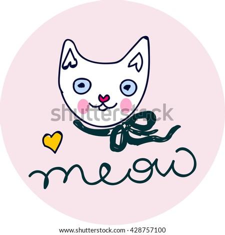 Cat print, cat graphic, cat illustration, canvas print, cat pattern, cat design,c at graphic, cat wallpaper, adorable cat, Funny cat,T-shirt Print, animal print, cat vector - stock vector