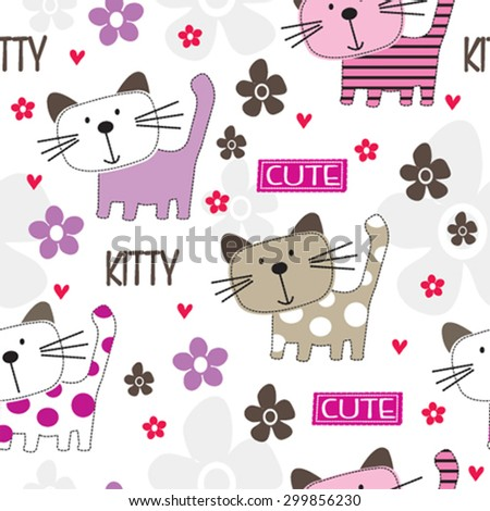 cat seamless pattern background vector illustration - stock vector